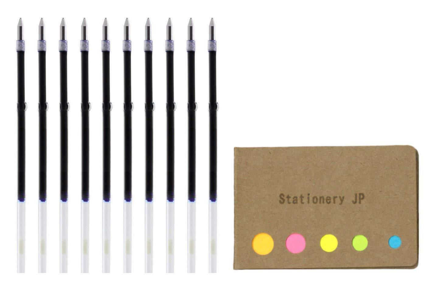 Zebra Ballpoint Pen Refills for Clip On Multi Pen, SK-0.7, Fine Point 0.7mm, Blue Ink, 10-pack, Sticky Notes Value Set