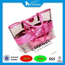2015 Summer New Transparent PVC Beach Bag Big Fashion Women's Shoulder Bag Girl Handbag