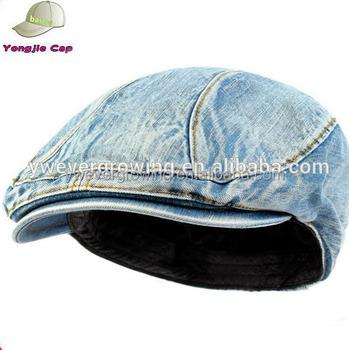 New Mens Denim Flat Cap Cabbie Driving Hat Ivy Irish Newsboy Medium Denim 42e3b85ae2e