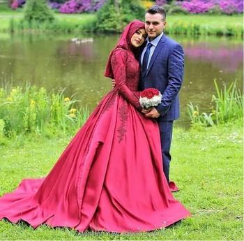 Vestiti Da Sposa Fucsia.Vestido Novia 2018 Manica Lunga Musulmano Abito Da Sposa Fucsia In