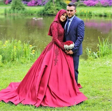 Vestido Novia 2018 Long Sleeve Muslim Wedding Dress Fuchsia Satin Arabic Ball Gown Wedding Dress 2018 Robe Mariage