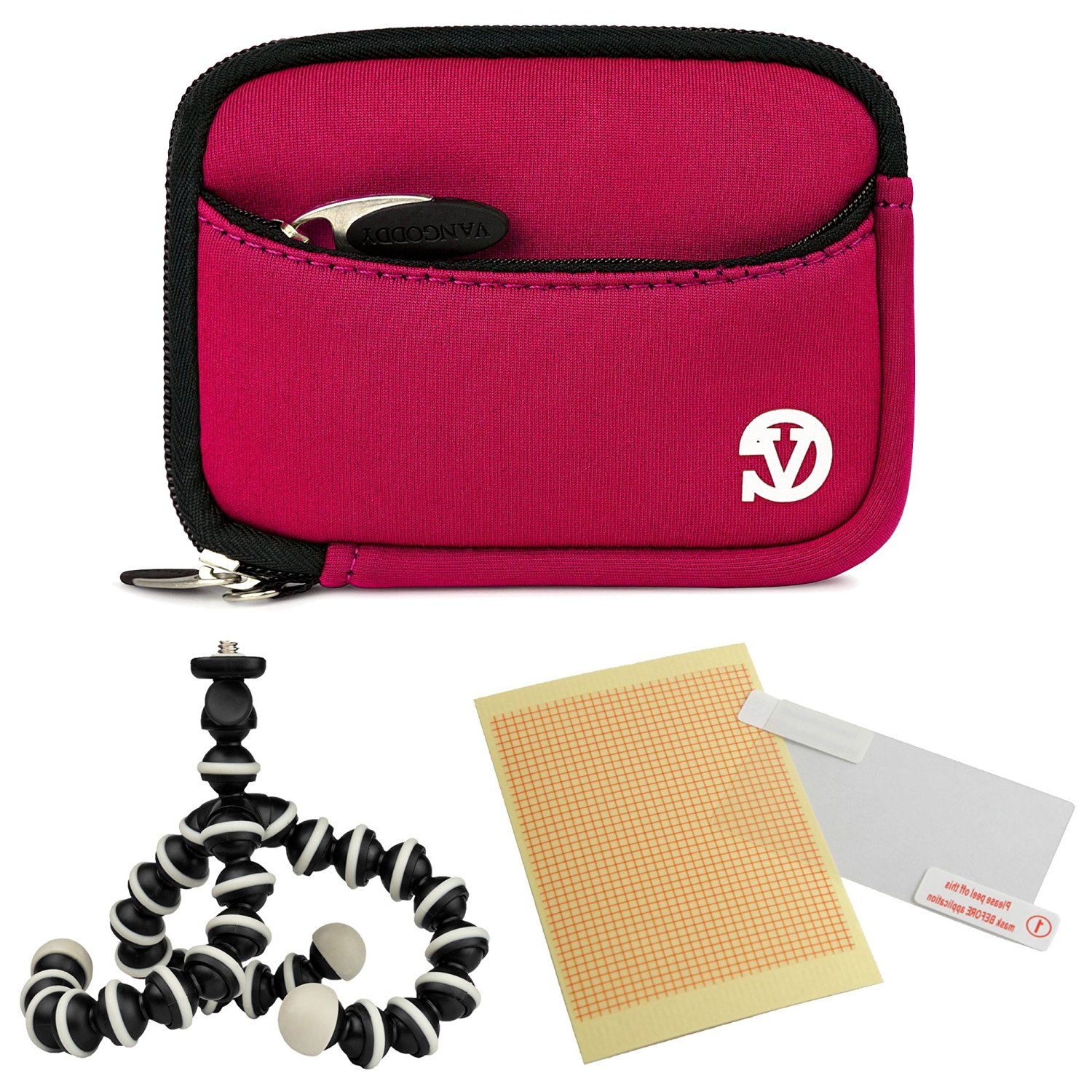 VanGoddy Mini Glove Sleeve Pouch Case for Canon PowerShot S120, S110, S100, S95, S90 Digital Cameras (Magenta) + Screen Protector + Mini Tripod Stand