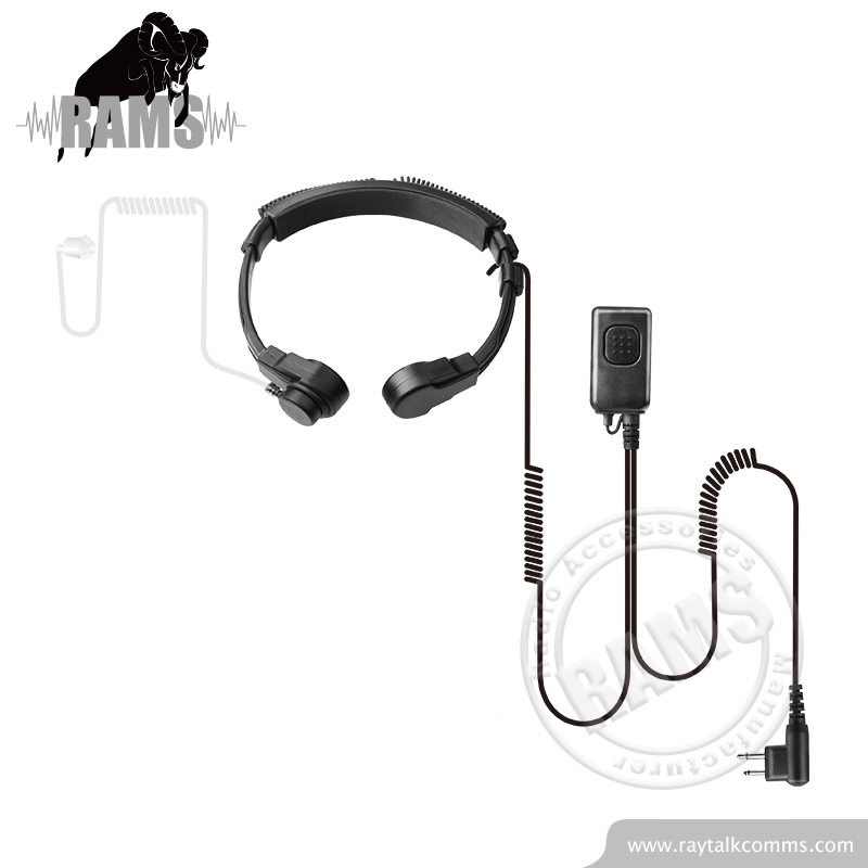 Throat earpiece microphone tactical surveillance kit for two way radio