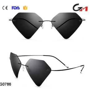 Best quality man woman polarized sunshades diamond like style black titanium alloy temple rimless super light sunglasses