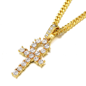 2019 Hot Sale 18K Gold Plated Box Chain Cubic Zirconia Hips Hop Crystal Egypt Ankh Cross Key Pendant Necklace