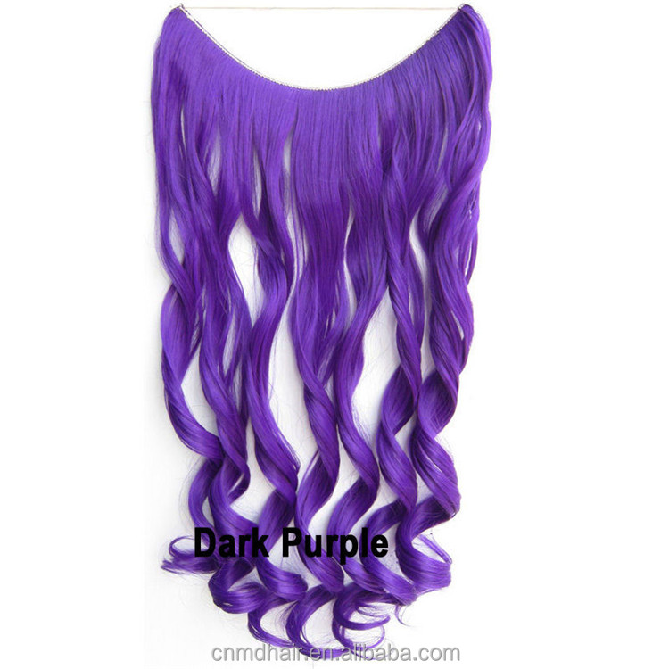 20 Inch Black Halo Hair Extensions Curly Synthetic Weave Women