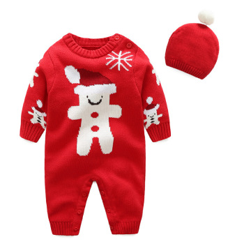 Autumn and winter baby sweater 100%cotton newborn rompers with hat baby Christmas clothes
