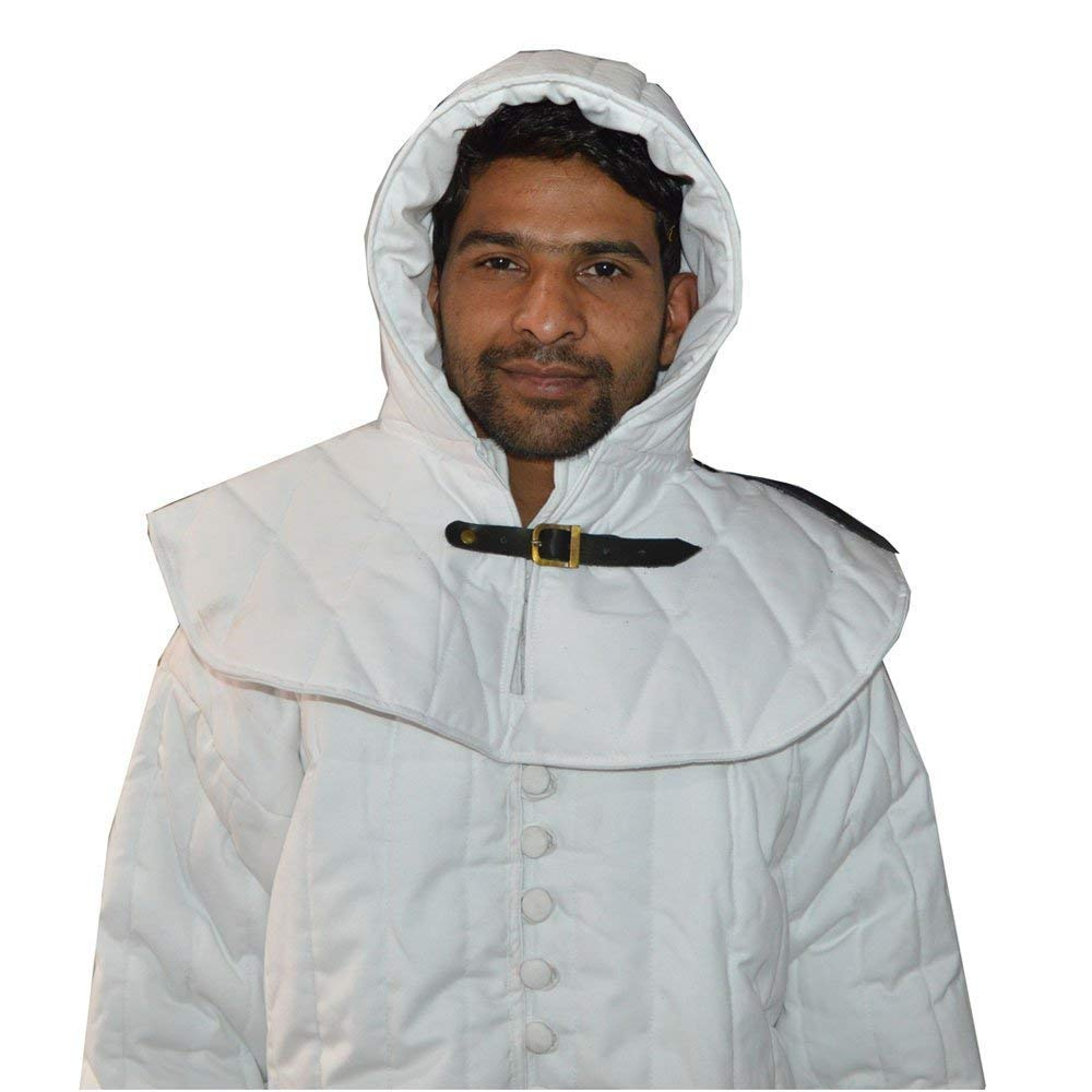 Nasir Ali GREEK ARMOUR Thick white color Gambeson Padded full sleeves cotton Armor w/cap