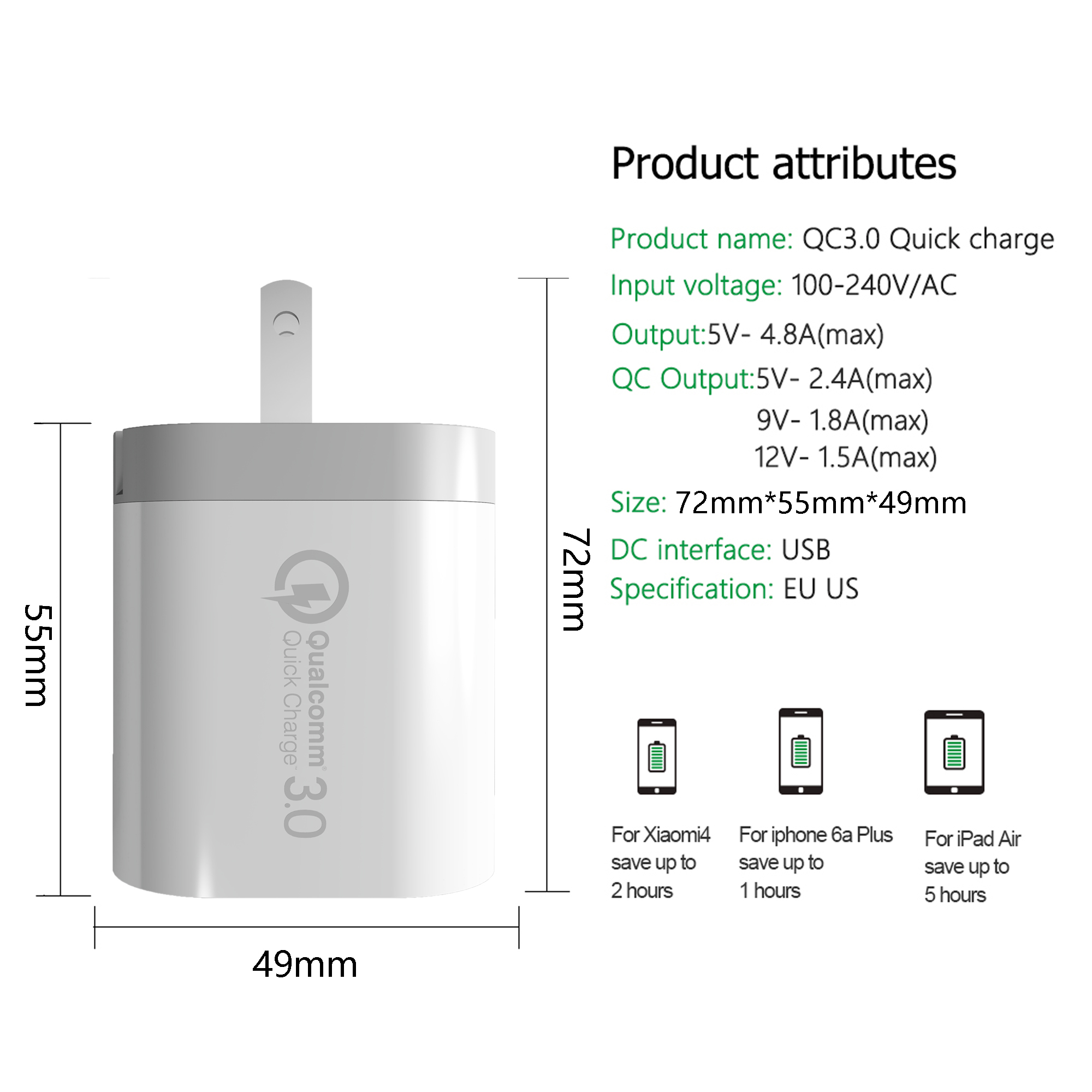 2019 Mobile Phone Accessories quick charge 3.0 Micro Usb Charger at factory price