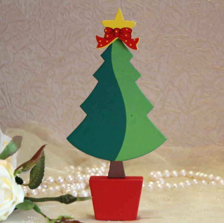DEMIZXX896 Wholesale Custom DIY Wooden Material Green And Red Color Yellow Star Decorations Free Ship Discount Christmas Tree