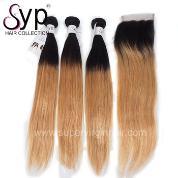 Double Drawn Full Cuticle Aligned 2T Two Tone  1B/27 Ombre Colored Couleur Colour  Color Virgin Silky Straight Hair Extension