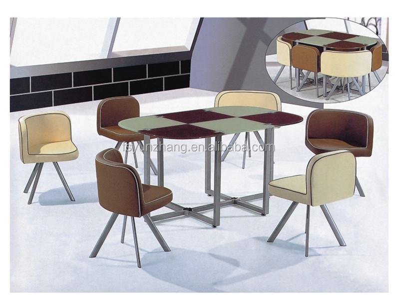 Draagbaar en moderne stijl 6 personen tafel en stoelen set gemaakt in china eetkamer sets - Oude tafel en moderne stoelen ...