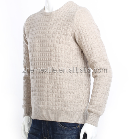 khaki colour 100% cashmere men's crew neck pullover sweater