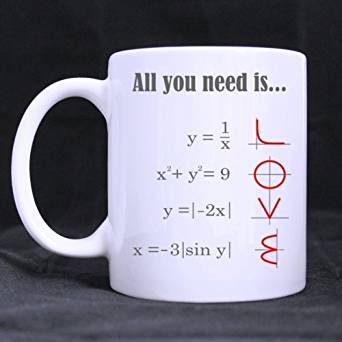 Good.luck Custom Smart Design Math Style LOVE Pattern All you need is LOVE Ceramic White Mug Tea Cup 11 OZ Office Home Cup Coffee Cup(two sides)