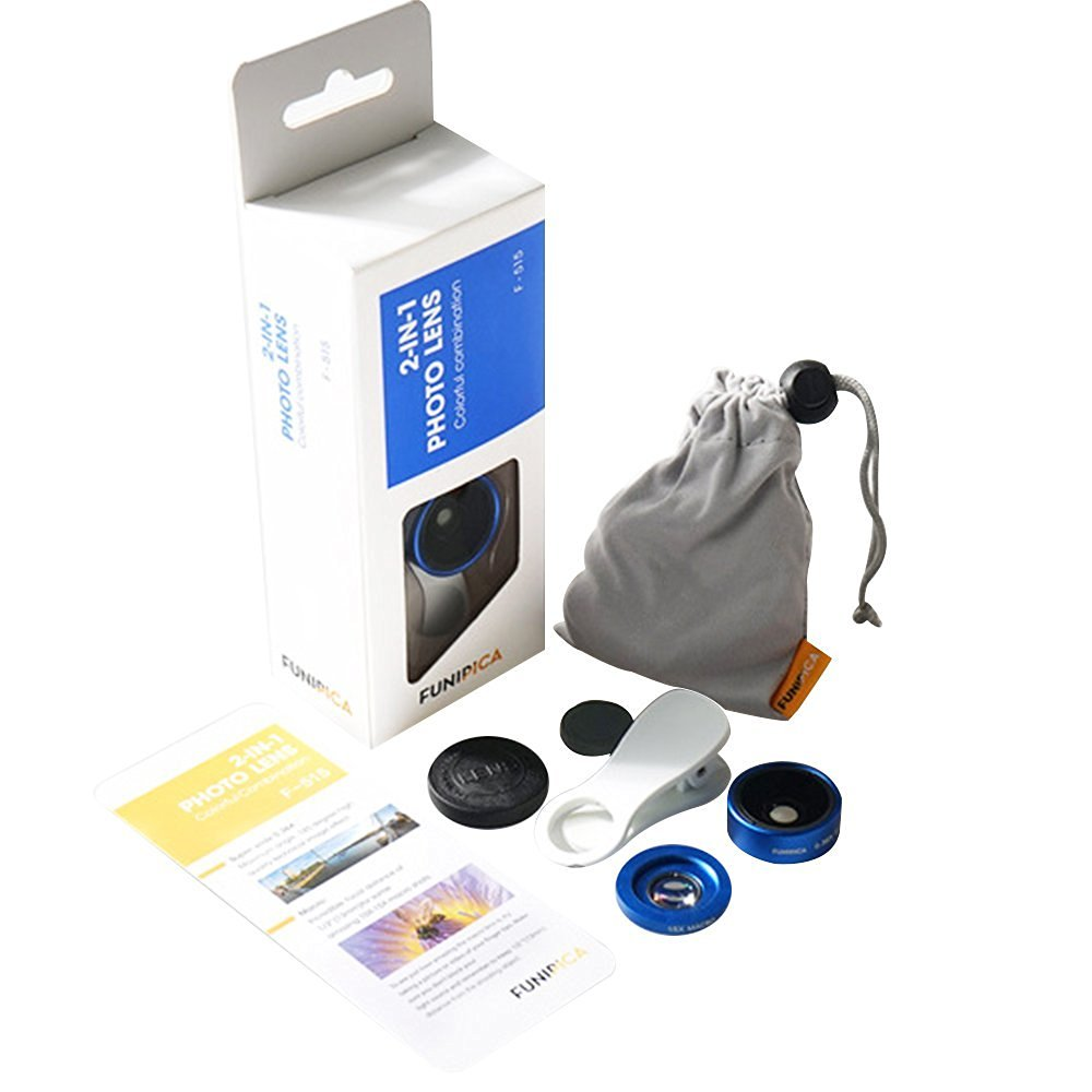 Cideros Universal 3 in 1 Clip-On Camera Cell Phone Lens Kit with 180 Degree Fisheye Lens + 0.36X Wide Angle Lens + 15X Macro Lens for iPhone, Samsung, iPad, Other Smartphone and Tablets, Navy Blue