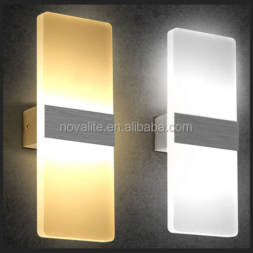 Acrylic Diffused Decorative Indoor rectangle Hotel LED Light Wall Lamps 6W