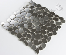 Pebble shape stainless steel tile mosaic for living room wall decor