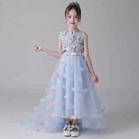 Flower Girl Dress Blue 3D Butterfly Baby Girl Wedding Dress Kid Party Girl Dress