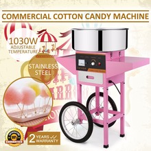 Brand New Commercial Electric Cotton Candy Machine Floss Maker Pink with Cart Stand