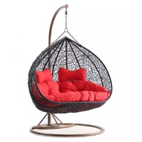 Double seater egg swing chair rattan leisure furniture D151