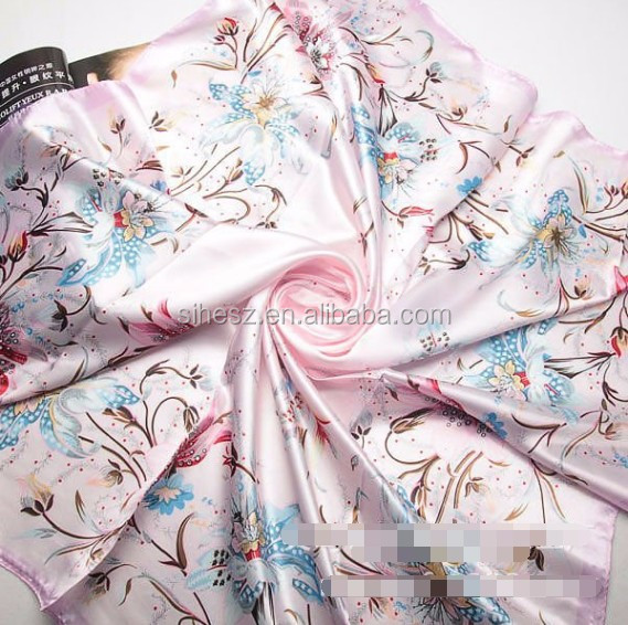 Fashion Brand Female beautiful flower pink silk Scarf satin shawl