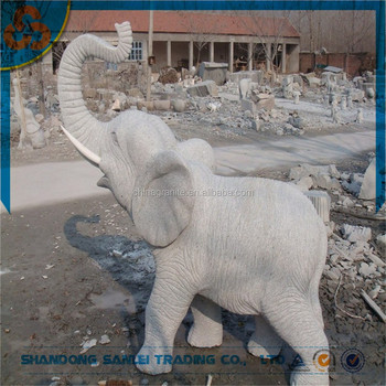 Garden Decorative Life Size Granite Stone Elephant Statues