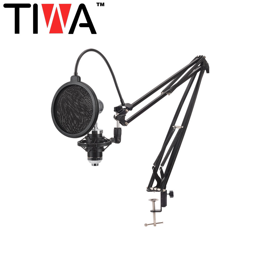 TIWA nb35 Verstelbare Suspension Scissor Arm Stand voor Condensator Microfoon opname met big size pop filter