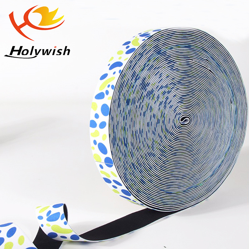 Custom polyester hair accessories elastic band printed ribbon