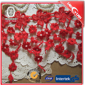 Pendant tassel accessories 19 cm width guipure lace fabric for skirt Black white red color