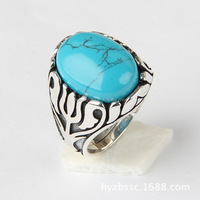 Wholesale 925 sterling silver ring men with blue gemstone