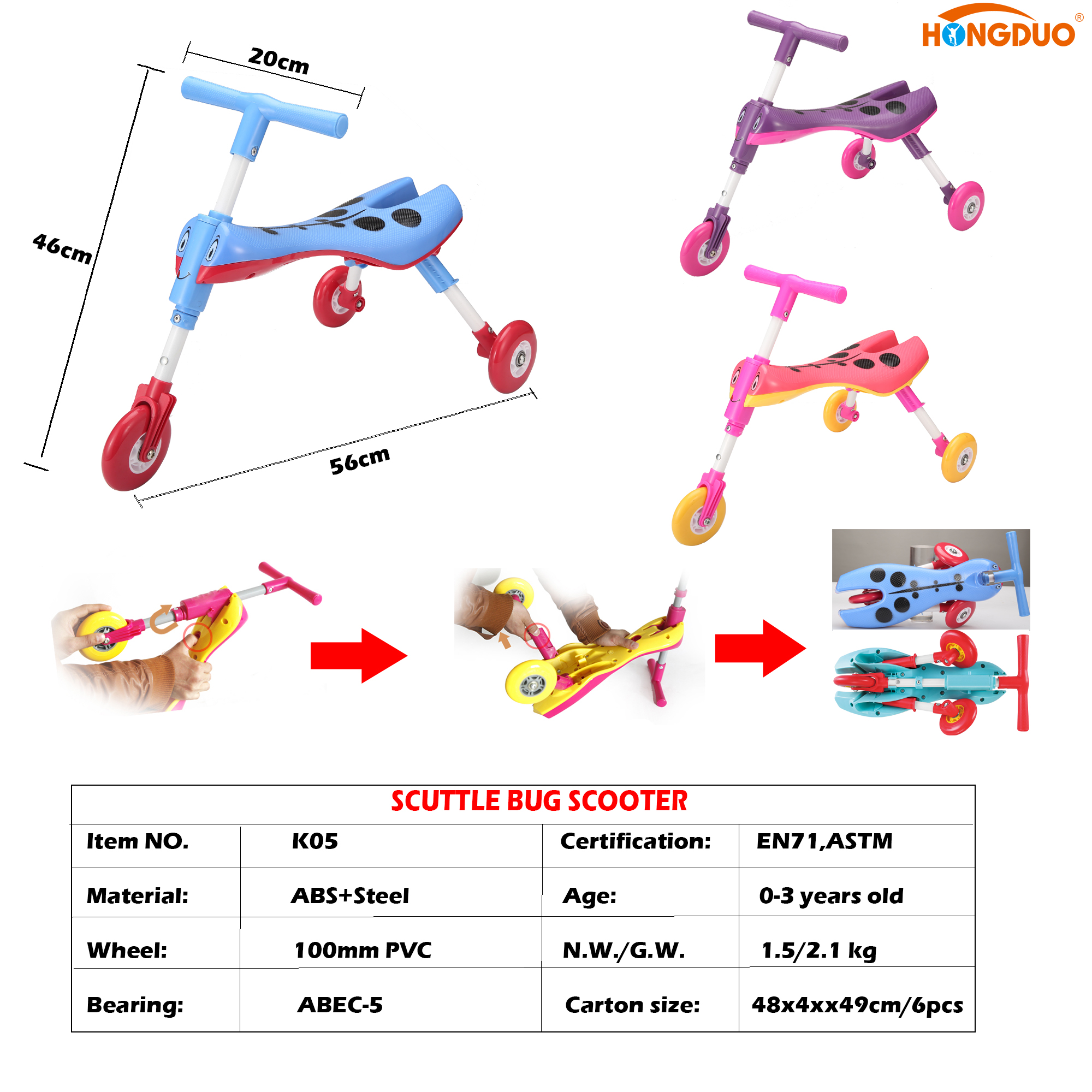 Scuttle bug scooter children tricycle toy Baby slide walking Folding trike