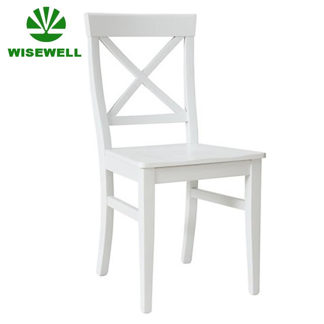 W C 1723 Pine Wood White Cross Back Chair