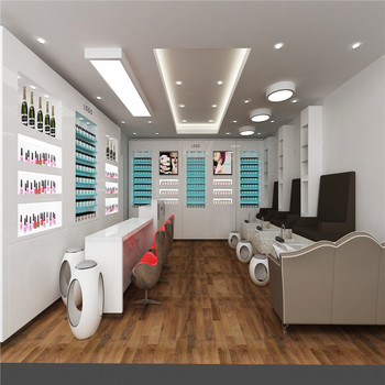Nail salon interior design with melamine display furniture used spa manicure table & Nail Salon Interior Design With Melamine Display Furniture Used Spa ...