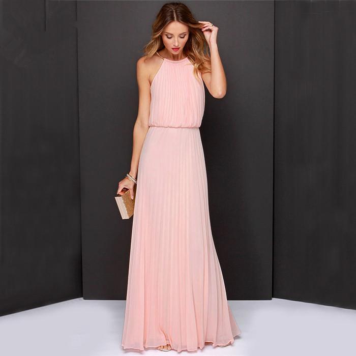 Vestidos De Festa Woman Clothes 2015 Solid Pink Sleeveless ...