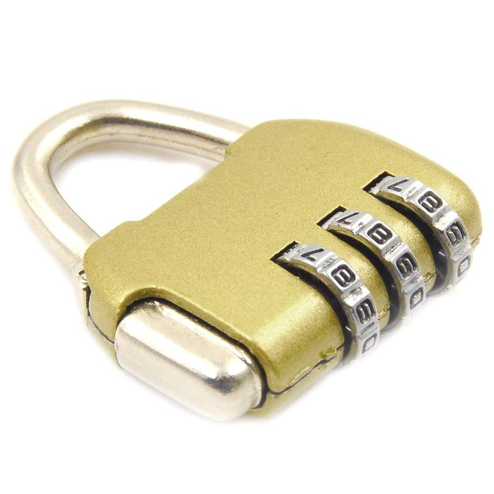 YUYUE Security Padlock 3 Digit Combination Lock Mini Password Lock for Bag, Luggage, Suitcase, School Gym Locker (Gold)