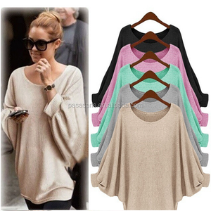 AL2677W Comfortable womens loose bat pullover T-Shirt batwing sleeve clothes blouse lady top