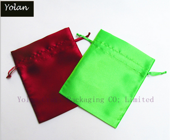 2015 Peacock Green Satin drawstring bag & jewelry satin pouch