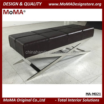 Ma M021 Black Leather Ottoman Bench With Stainless Steel Base Bed