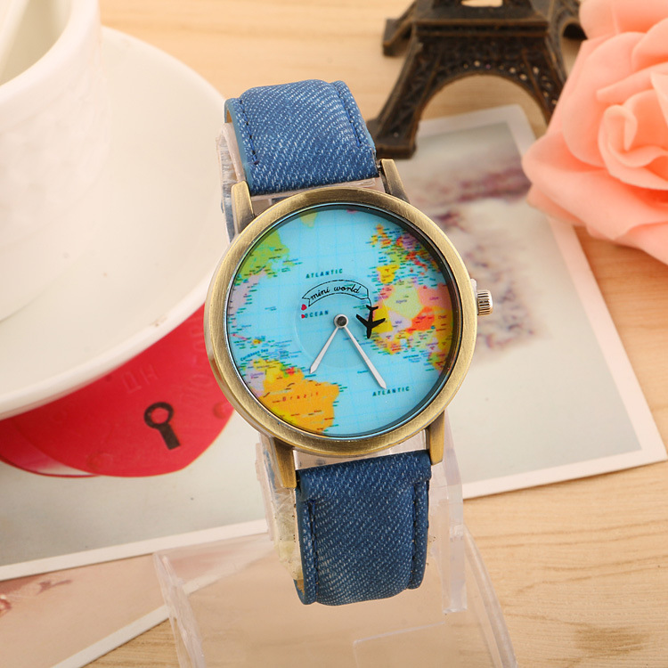 2015 Mini World Map Watch Jean Fabric Vogue Child Lady Leather Watch Blue
