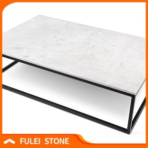 Custom cut rectangular carrara white marble slab dining table tops