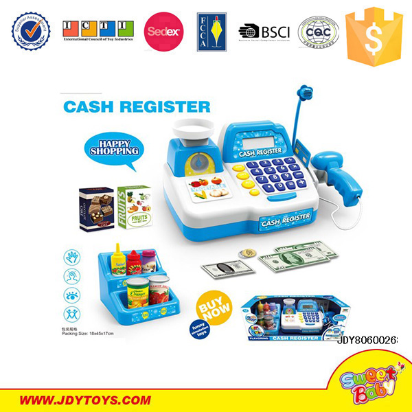Funny pretend super market play set cash register toy with scan
