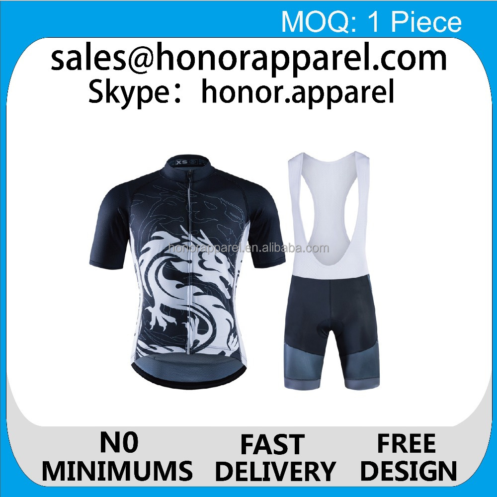 2017 new product free design Custom sublimation printing bike wear cycling jersey/cycling bib short