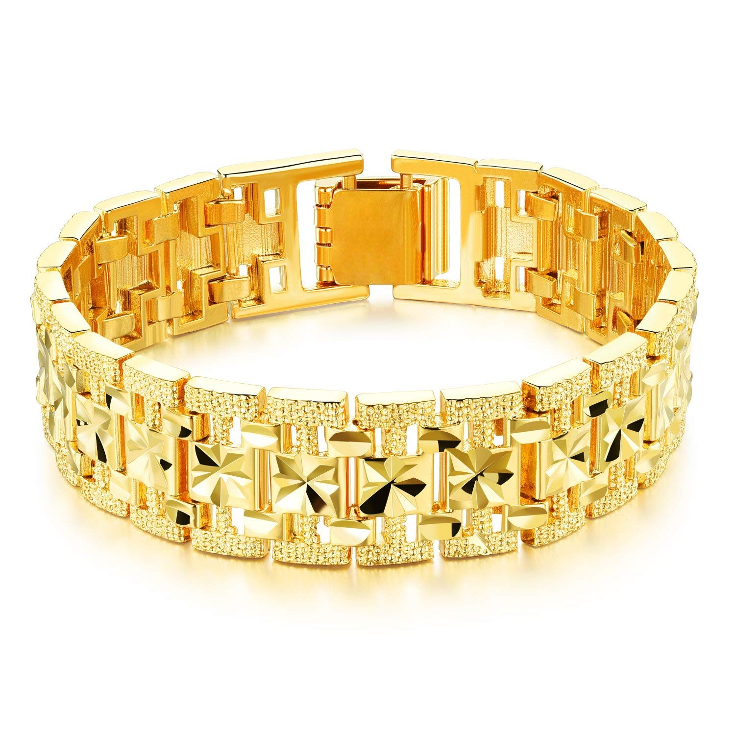 8dfd9caf4 Get Quotations · Opk Jewelry Fashion 18k Yellow Gold Plated Men's Link  Bracelet Carving Wristband,15mm Wide,