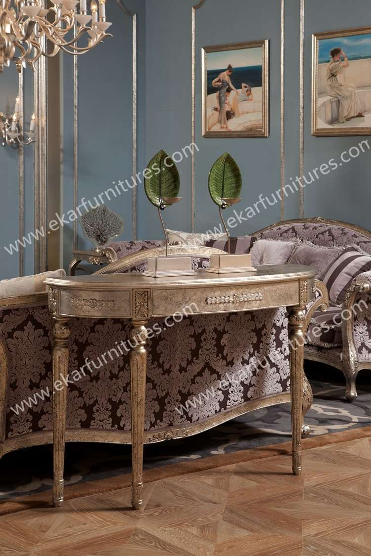 Wooden console table with mirror - Hot Sale Entrance Rococo Style Wooden Console Table With Mirror