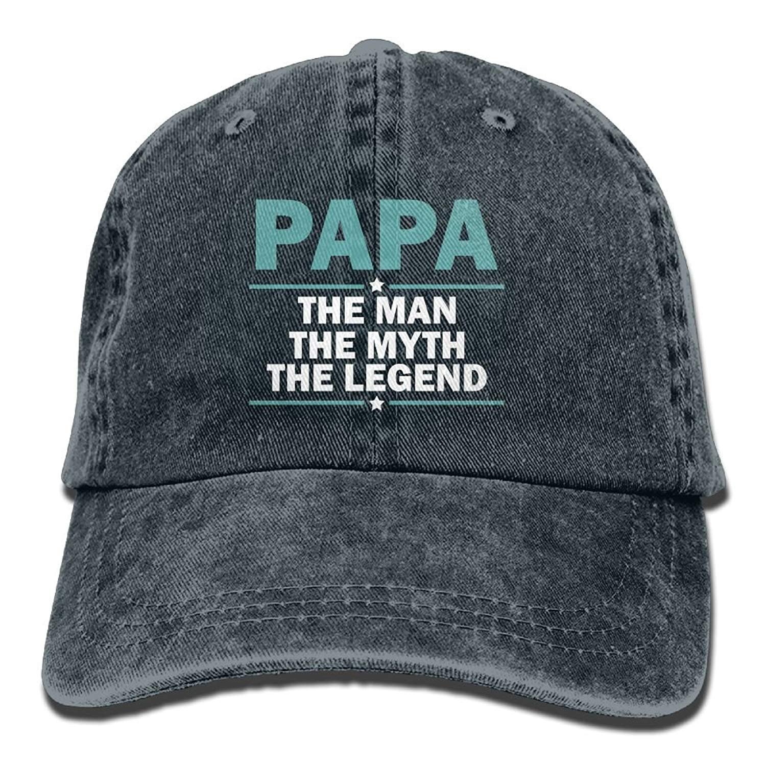 Papa The Man The Myth The Legend Plain Adjustable Cowboy Cap Denim Hat for Women and Men