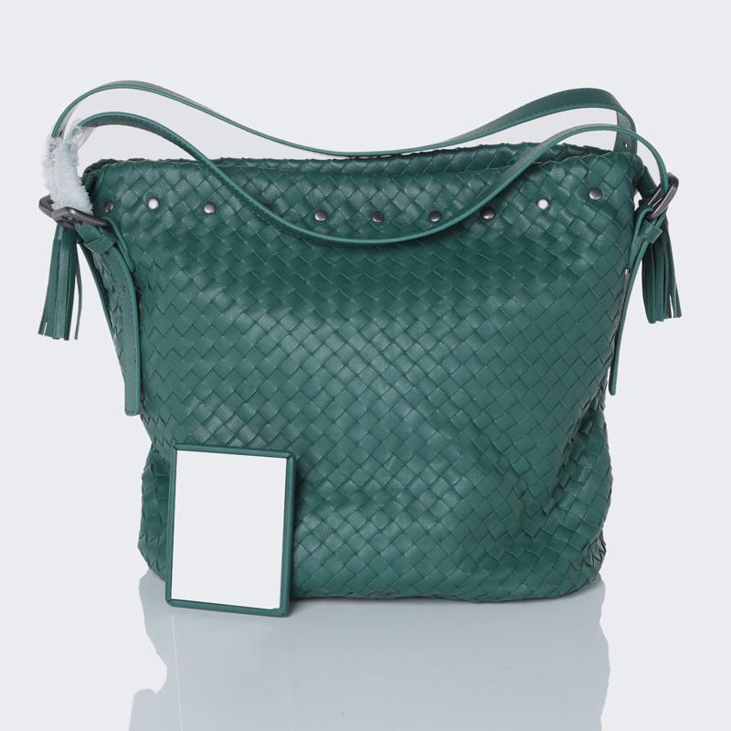 Get Quotations Free Shipping Genuine Sheepskin Leather Women S Luxury Handbags Lady Fashion Handmade Weave Bucket Tote Bag Top