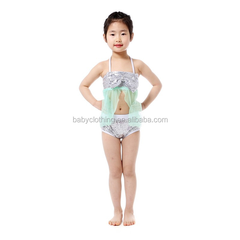Popular in USA dancing party wear sequin bikini set toddler girls summer bikini set