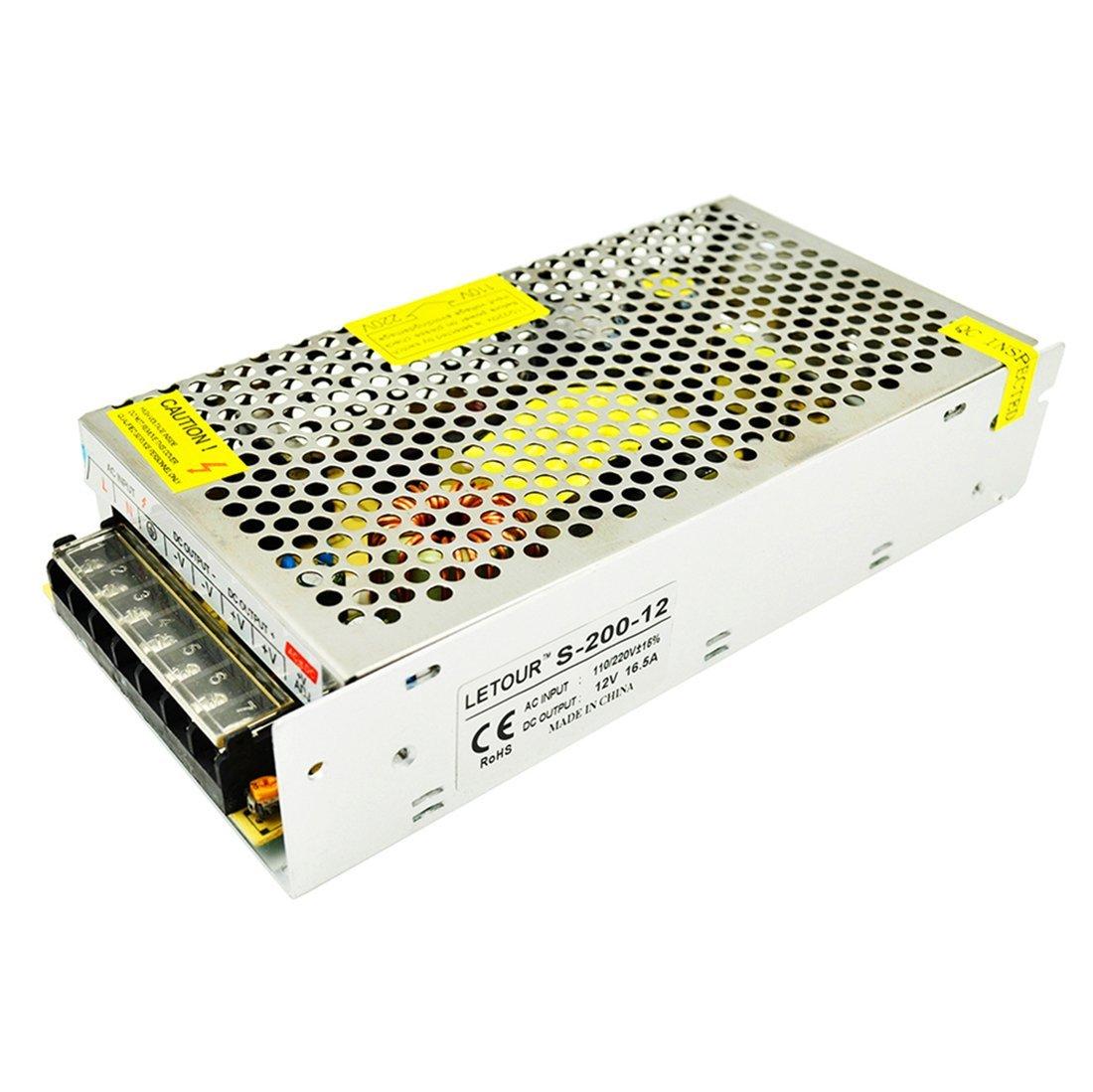 LETOUR 12V DC Power Supply 16.5A 200W AC 96V-240V Converter DC 12Volt 200Watt Adapter LED Power Supply for LED Lighting,LED Strip,CCTV