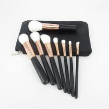<span class=keywords><strong>7</strong></span> pcs Schwarz Griff Weiß Haar Großhandel Make-Up Pinsel Set Private Label