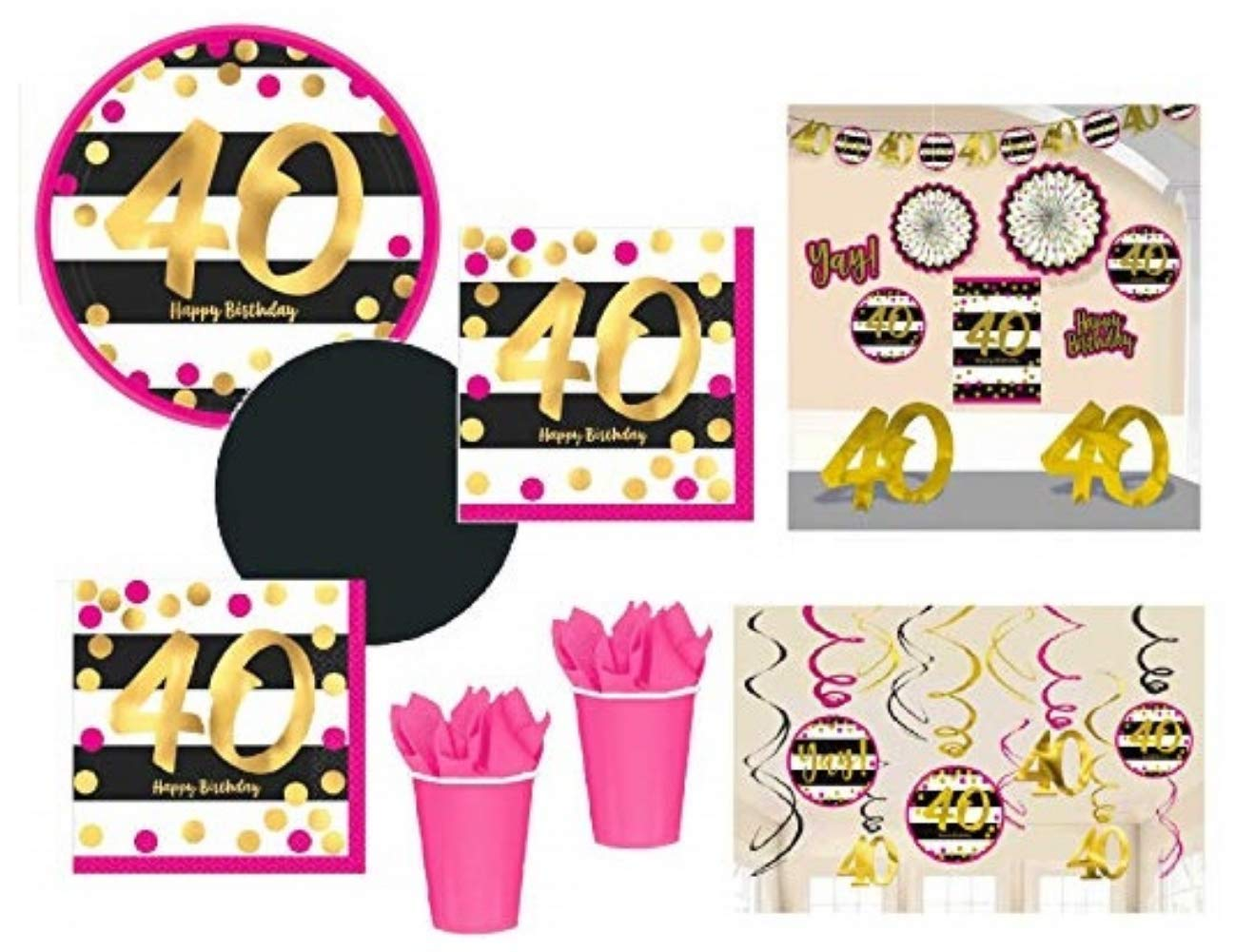 FAKKOS Design 40th Birthday Decorations And Party Supplies In Pink Gold Black Foil For 24 Guests